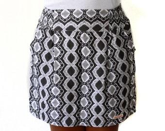 Retro skirt, mini skirt in black, grey and white, geometric short skirt