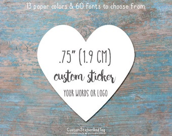 custom stickers, MINI heart shape, .75 inch, personalized stickers, envelope seals, logo stickers, kraft stickers (S-48)