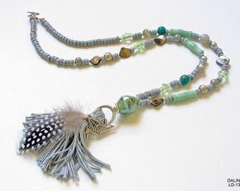 Tassel chain, necklace, jewelry, beaded jewelry, bead necklace, long necklace, gift for you, tassel, feather, origami crane, silver, mint, grey, unique
