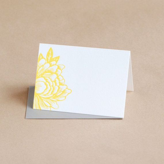 Letterpress Stationery : Sunshine Yellow Blossoming Flower Folded Notes, box of 50 small folded cards w envelope color choice