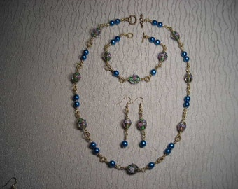 Blue Pearl and Lampwork Beads Necklace, Bracelet and Earring Set