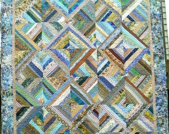 Lap Sized Strip Pieced Quilt in Beach Colors
