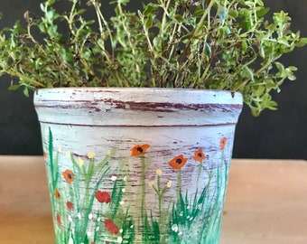 Wildflowers Painted Pot