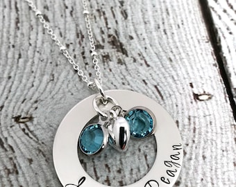 Twins Birthstone Necklace, Mother of Twins Jewelry, Gift for Mom of Twins, Mom Jewelry, Birthstone Jewelry for Mom