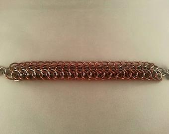 Steel Chainmaille Bracelet in Dragonback weave