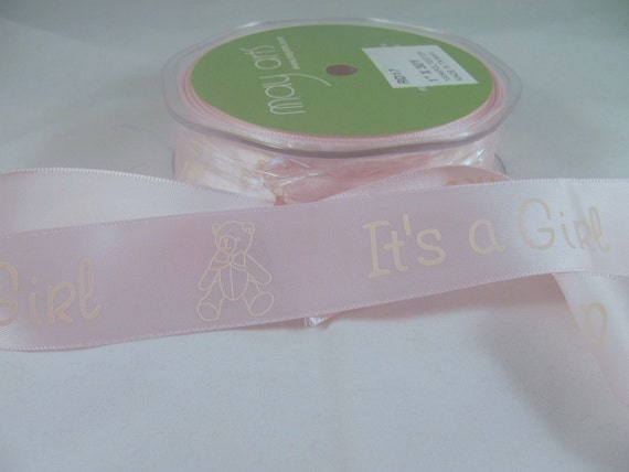 "1 Yard 1"" Satin It's A Girl Ribbon May Arts Satin Ribbon"