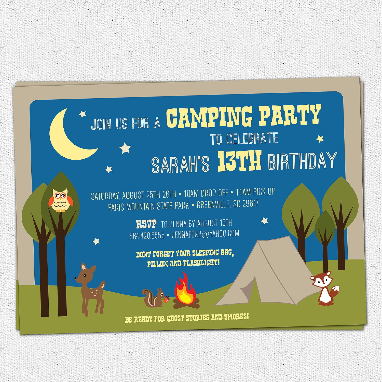 Camping party invitation birthday summer woodland animals zoom filmwisefo Images