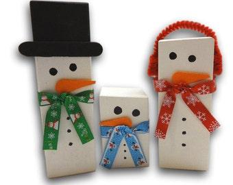 Wood Block Snowman Family,   Holiday Decor, Snowman Decor,  Winter Snowman Family,  Christmas Snowman, Wood Block Snowman, Handmade Snowman