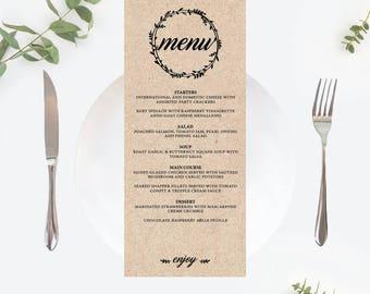 Printable Menu card, Wreath Wedding Menu Template, Wedding Menu Printable, Menu Printable, Wedding Dinner Menu, PDF Instant Download