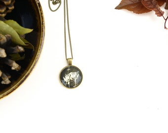 Black dandelion cabochon necklace,  glass dome pendant, chunky black necklace