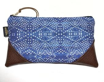 Large Indigo Boho Denim Zipper Clutch / Zip Pouch with Zipper Pull or Leather Wristlet Strap