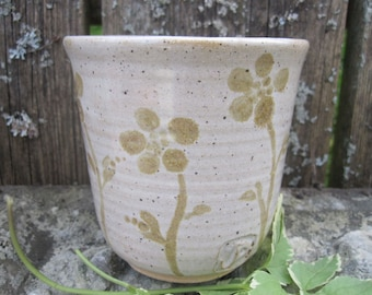 Wildwood Glass by Sweetpea Cottage Pottery cream and brown use hot or cold