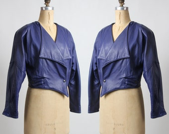 1980s ITALIAN Leather Coat Purple Jacket