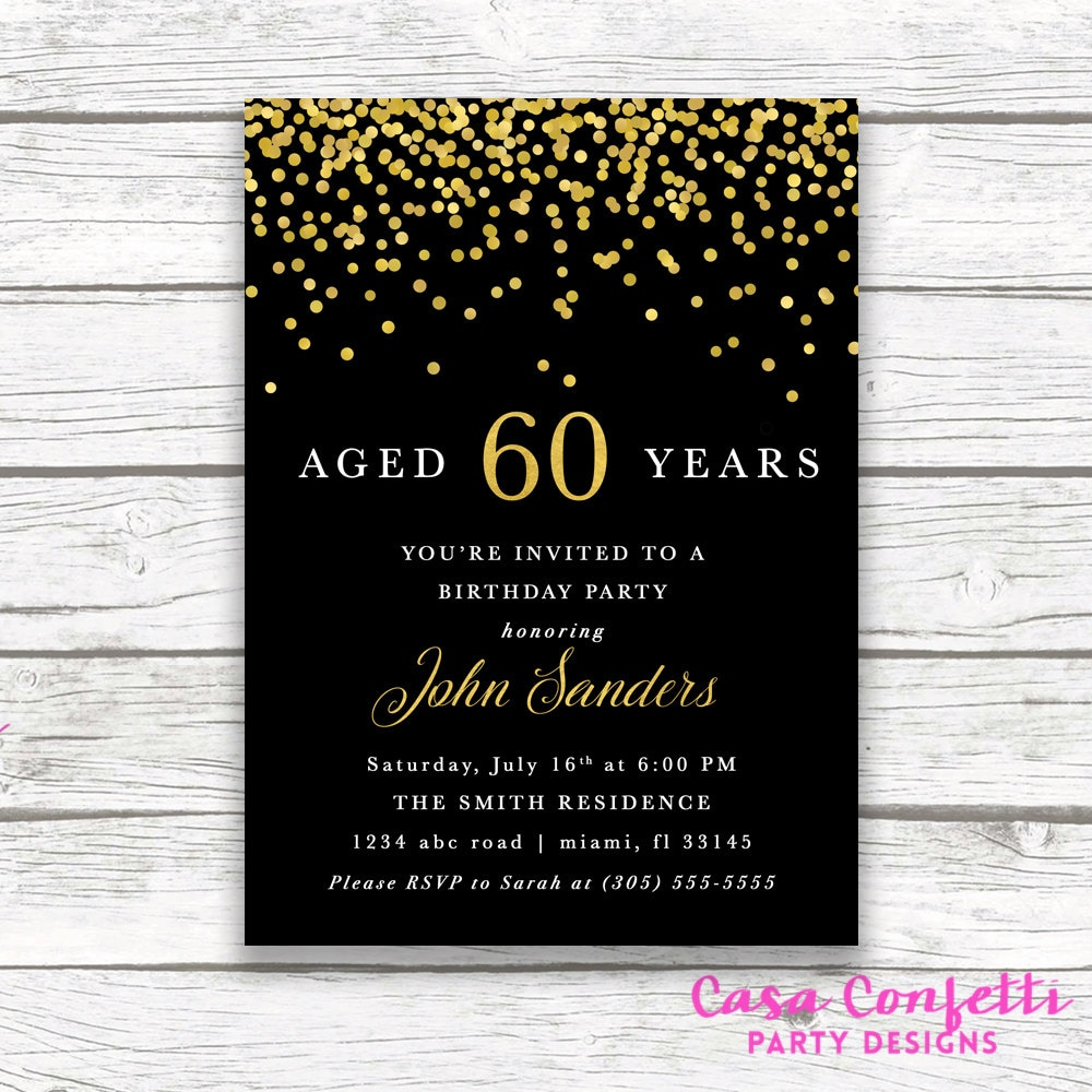 Adult Male Birthday Invitation, Black and Gold Birthday Invitation ...