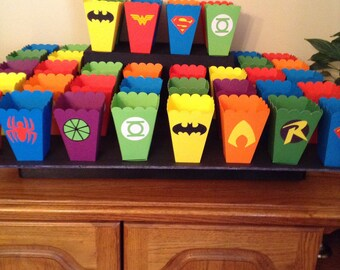 Popcorn Boxes, treat box, decorations, superhero, party supplies, birthday party, boys & girls party, candy box, super hero, centerpieces