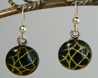 Dichroic Fused Glass Earrings, Golden Webs, DE23