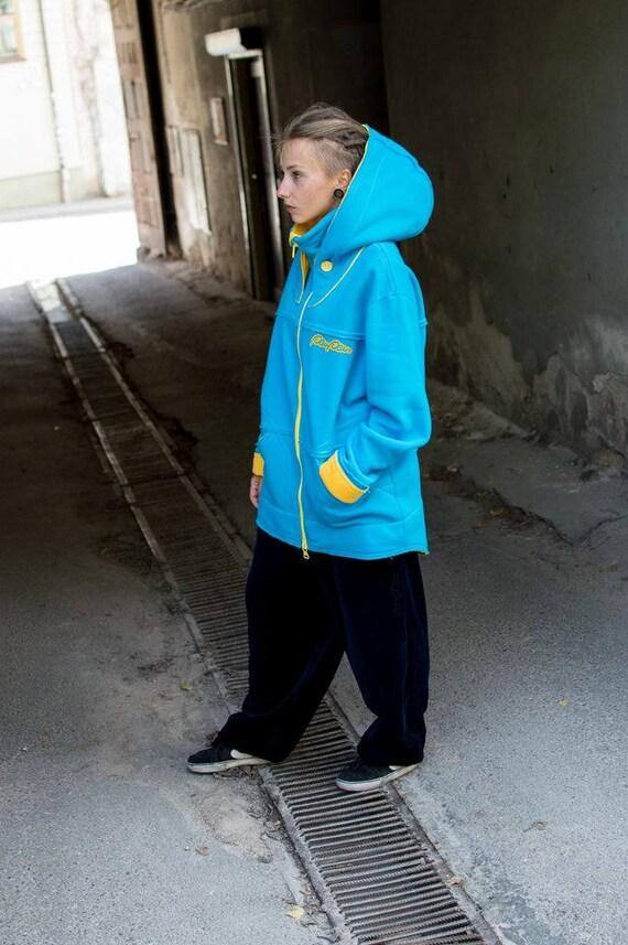 sweatshirt long cotton Hoodie hooded hood Jacket woman Big for Colored oversize multicolor man Blue warm hoodie hoodie or blue Yellow X5wzqaxT