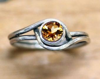 Sterling silver citrine ring, silver ring, November birthstone ring, swirl ring, citrine jewelry, mini pirouette, custom made