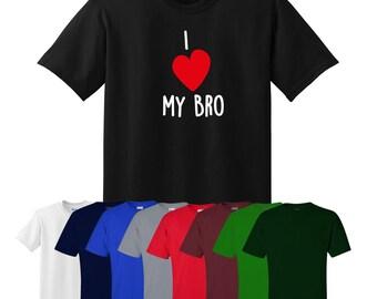 I Love My Bro T-shirt Funny Gift Joke Xmas Present Friend Gym Fitness Brother Heart