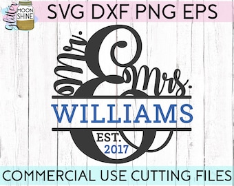 Mr. And Mrs. Split Monogram Frame svg eps dxf png Files for Cutting Machines Cameo Cricut, Last Name, Wedding svg, Engagement svg, Sign svg