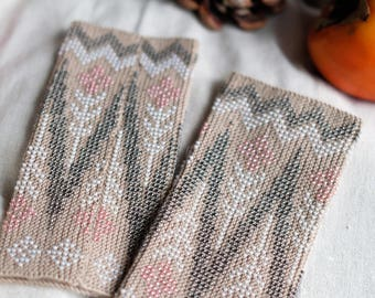 gloves, beaded wrist warmers, wrist warmers, wristers, fingerless gloves, hand knitted, gloves, mittens, knitted wrist warmers with beads
