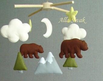 Baby mobile, Bear Mobile, Baby Boy Mobile, Woodland nursery, Baby Crib Mobile, Woodland Mobile, Mountain mobile, Bear Mountain Baby Mobile