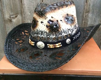 Black and White Straw Cowboy Hat Vintage Look with Black Hatband Accented with Brown and Tan Beads and Silver Conchos