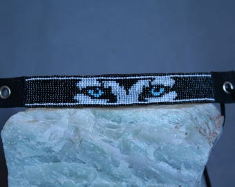 Grey Wolf or Husky hand beaded bracelet