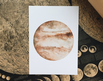 Watercolor Jupiter Print Card A5 size