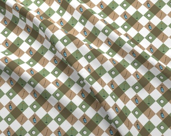 Golf Fabric - Golf Perfect By Stofftoy - Harlequin Checked Golf Course Sports Outdoor Upholstery Cotton Fabric By The Yard With Spoonflower