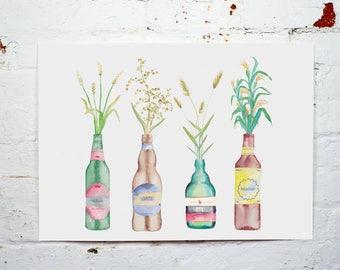 Ale Bottles Beer Bottles Watercolour Print A2