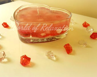 Gel candle in the form of heart with the aroma of strawberry