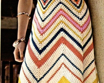 Chevron Crochet Maxi Dress Pattern, Classic Vintage 1974 Hippie, Boho Style, Sizes 34 and 36, PDF Instant, Digital Download
