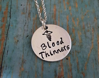 Blood Thinner Necklace - Blood Thinner Jewelry - Medical ID - On Blood Thinners - Medical Jewelry - Medical Alert - Medical Necklace
