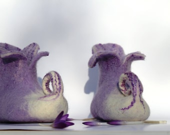 Lilac  fairy shoes, women's slippers with Leather soles winter home shoes  felted wool slippers mother's day gift