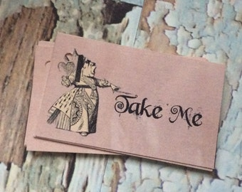 Alice in wonderland Take Me TAgS Set of 12 made to order