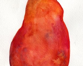 Red Pear watercolors paintings original, Fruit watercolor, 5 x 7, food, kitchen art, original small watercolor painting of pear