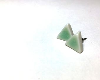 Sea Foam Porcelain Triangle Studs