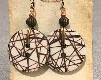 Scratchy BUTTON Earrings - cream & brown