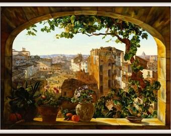 Art Print Rome, Italy,  Piazza 1800s - Print 8 x 10