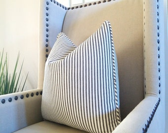 Black and white Ticking Stripe Throw Pillow cover - Classic Ticking Stripe Pillow - Reversible pillow cover with same fabric on both sides,