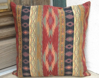 Southwestern pillow cover. 18 x 18 to 24 x 24. Soft, rich and sturdy fabric. Traditional southwest colors