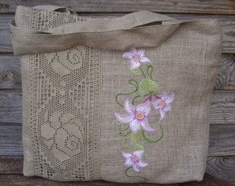 Natural Linen  Embroidered tote bag Tote bag Canvas tote bag Shopping bag Beach bag, Handmade bag, Embroidered purse, Bags and purses