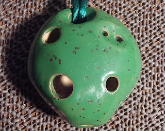 Ocarina pendant etsy green pendant ocarina necklace mozeypictures Images
