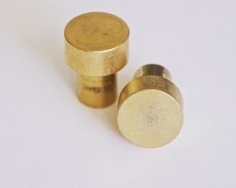 "Brass Hardware: Small 3/4"" Brass Knob Drawer Pull Cabinet"