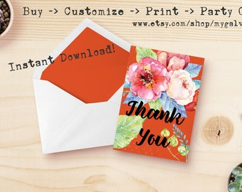 Floral Thank You Note Card ~ Digital Download ~ Print at Home