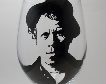Tom Waits, Hand Painted Glass, Painted Wine Glass