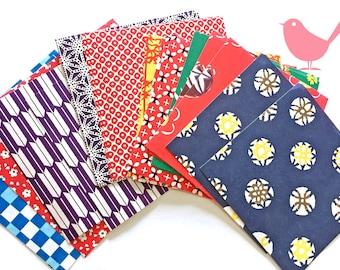 Mini Japanese rice and origami paper ephemera, paper with beautiful print set 1