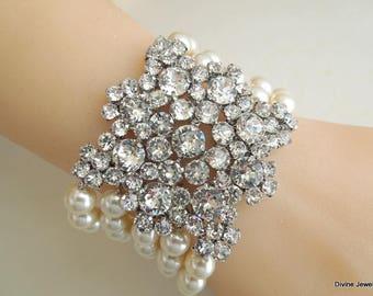 swarovski crystal pearl bracelet bridal bracelet pearl and crystal wedding bracelet rhinestone bracelet statement bracelet pearl ATHENA