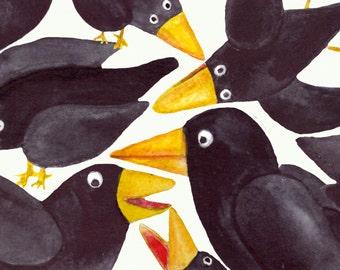 15 Watercolor Crows Clip Art Set -